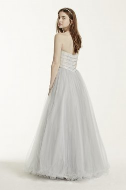 Rhinestone Encrusted Bodice Tulle Ball Gown Style P474