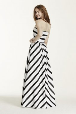 Strapless Striped Ball Gown Style A16261