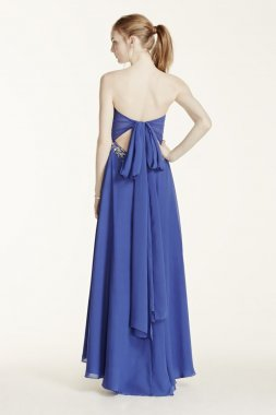 Strapless Jewel Encrusted Tie Back Chiffon Dress Style 550D