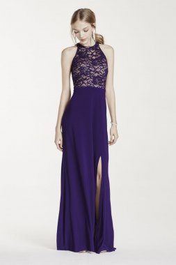 Illusion Sequin Lace Halter Jersey Dress Style 12028