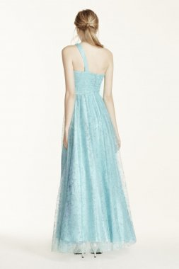 Crystal Rhinestone One Shoulder Glitter Tulle Gown Style 328062