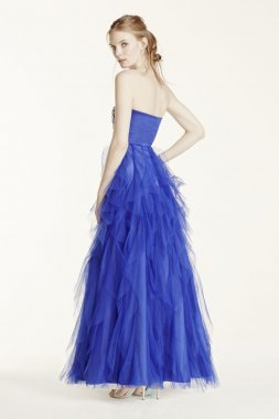 Crystal Encrusted Cascading Ruffle Tulle Dress Style 360087