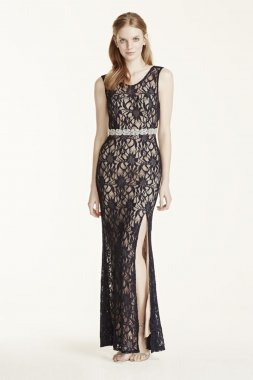 Open Back Lace Dress with Embellished Waist Style 3622R08B