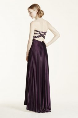 Crystal Embellished Pleated Strappy Back Dress Style 4220106
