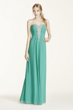 Strapless Crystal Embellished Ruched Bodice Dress Style 55034