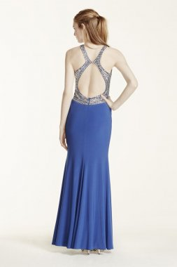 High Neck Beaded Open Back Jersey Dress Style 55102