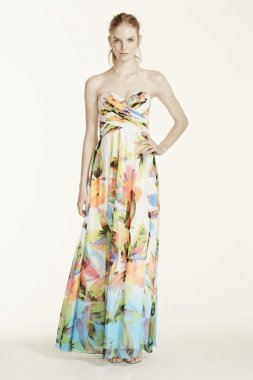 Strapless Printed Dress with Rhinestone Bodice Style 56606D