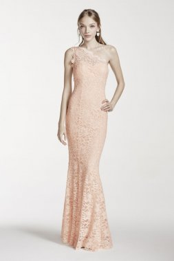 One Shoulder Illusion Neckline Glitter Lace Dress Style 12009