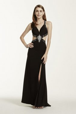 Crystal Embellished Cutout Halter Dress Style 56696D