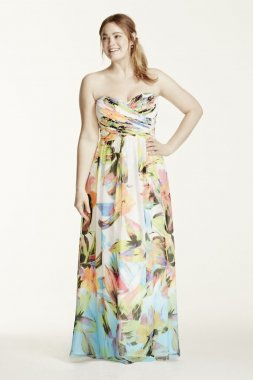 Strapless Printed Dress with Rhinestone Bodice Style 56606DW