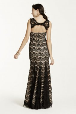 Sleeveless Allover Lace Dress with Beaded Neck Style A15432