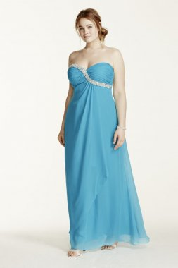 Strapless Crystal Embellished Chiffon Dress Style 211S65920W