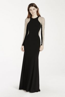 Long Jersey Dress with Illusion Beaded Sleeves Style XS6649