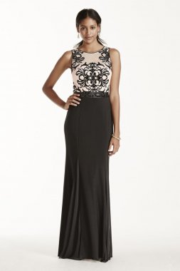 Flocked Tank Bodice Jersey Dress with Beaded Sash Style A16057