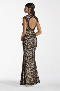 Deep-V Illusion Neckline Lace Evening Dress Style A16568