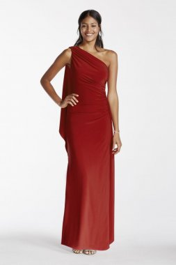 One Shoulder Jersey Sheath Dress with Draping Style A16811