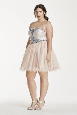 Sequin and Crystal Embellished Short Tulle Dress Style 55343W