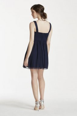 Short Mesh Dress with Embellished Tank Straps Style X31741J33