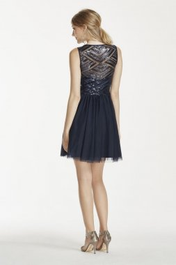 Sequin V-Neck Illusion Back Dress with Mesh Skirt Style 690581K5X
