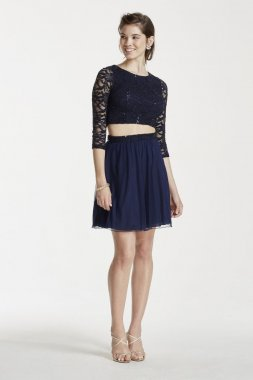 3/4 Sleeve Sequin Crop Top with Short Mesh Skirt Style X90011HJL