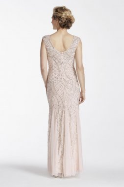Cap Sleeve Long Beaded Gown with Godets Style 061910460