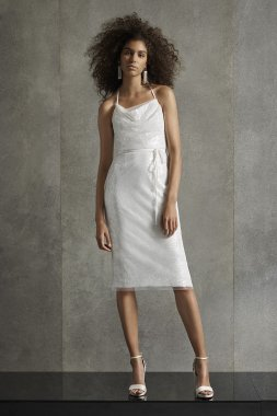 Short Sheath Sequine Cowl Neck Dress with T-Back Style VW351541