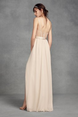 Sequin Bodice VW360345S Bridesmaid Dress with Chiffon Skirt