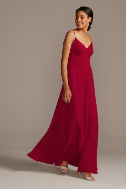 New W11995 Style Long A-line Spaghetti Strap Satin Bridesmaid Dress