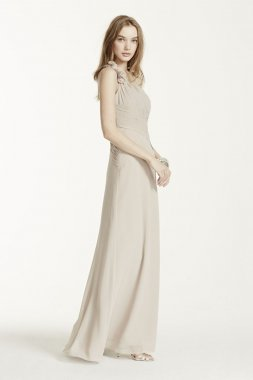 Chiffon Dress with Floral Detail and One Shoulder Style F14010