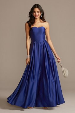 New Style X39603QB4 Strapless Long A-line Satin Prom Dress