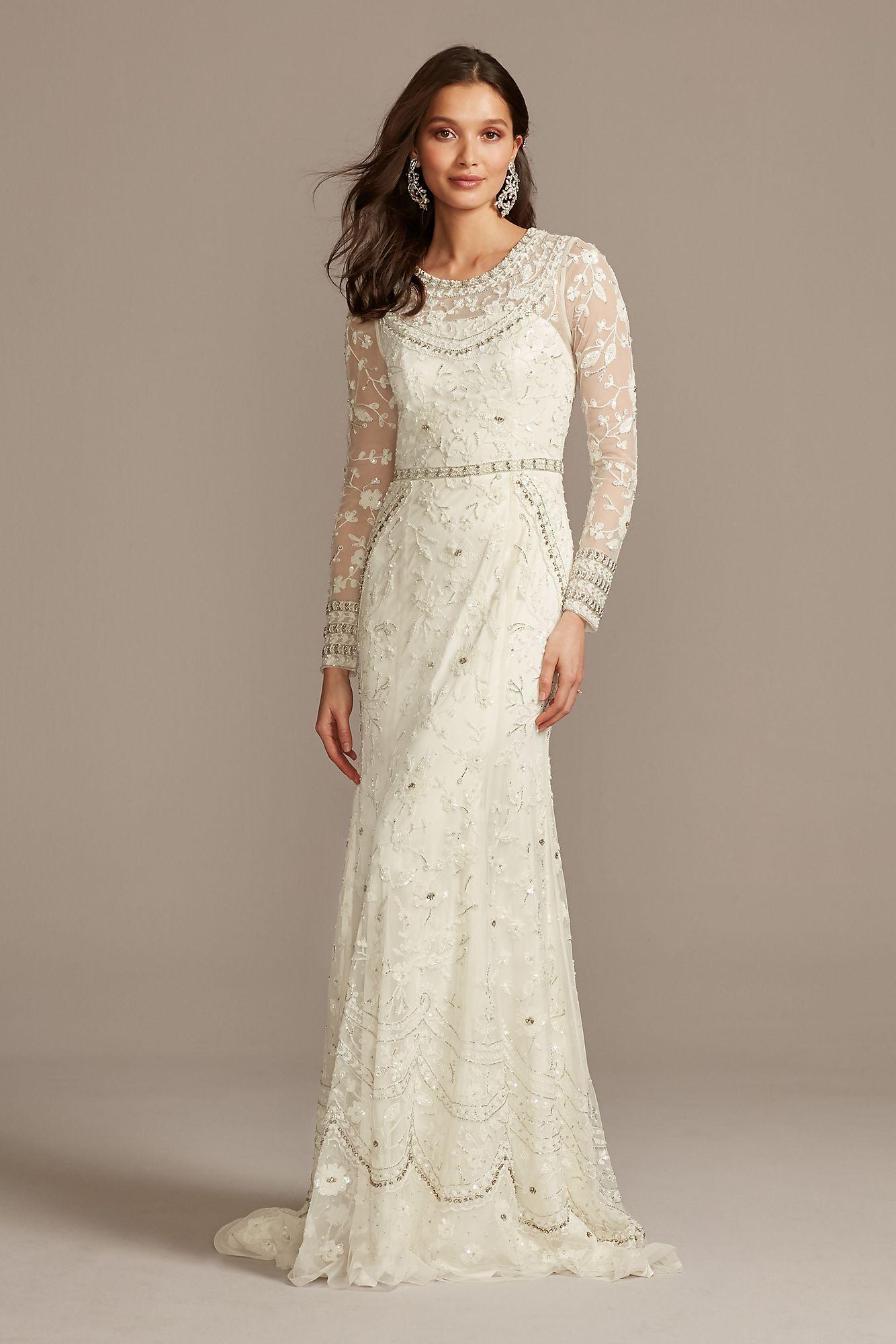 Illusion Long Sleeve Beaded Overlay Wedding Dress Melissa Sweet ...