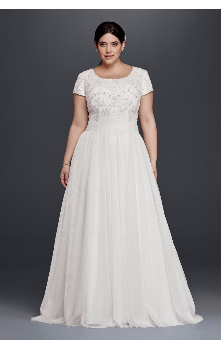 Hot Sale 4XL9SLWG3811 Style Short Sleeves Scoop Neckline A-Line Beaded Wedding Dress Plus Size