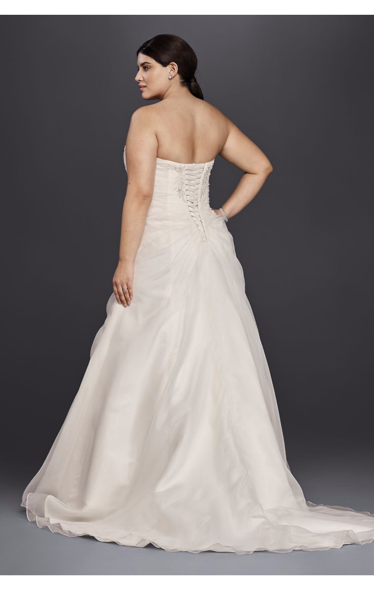 Elegant Long Strapless Organza and Lace Ruched Wedding Dress Plus Size 4XL9WG3807