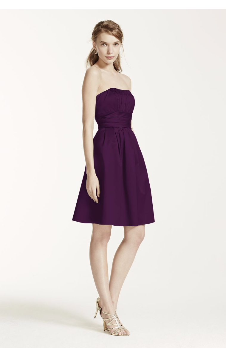 Cotton Sateen Strapless with Ruching and Pockets Style 83312