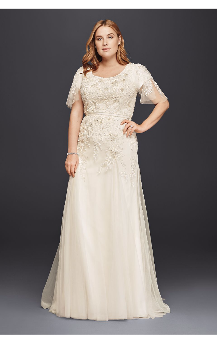 New Arrival Scoop Neckline Plus Size Modest Wedding Dress with Floral Lace 8SLMS251111