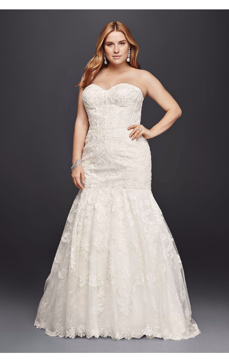 Strapless Sweetheart Neckline Long Corset Bodice Mermaid Lace Wedding Dress Plus Size 9SWG755
