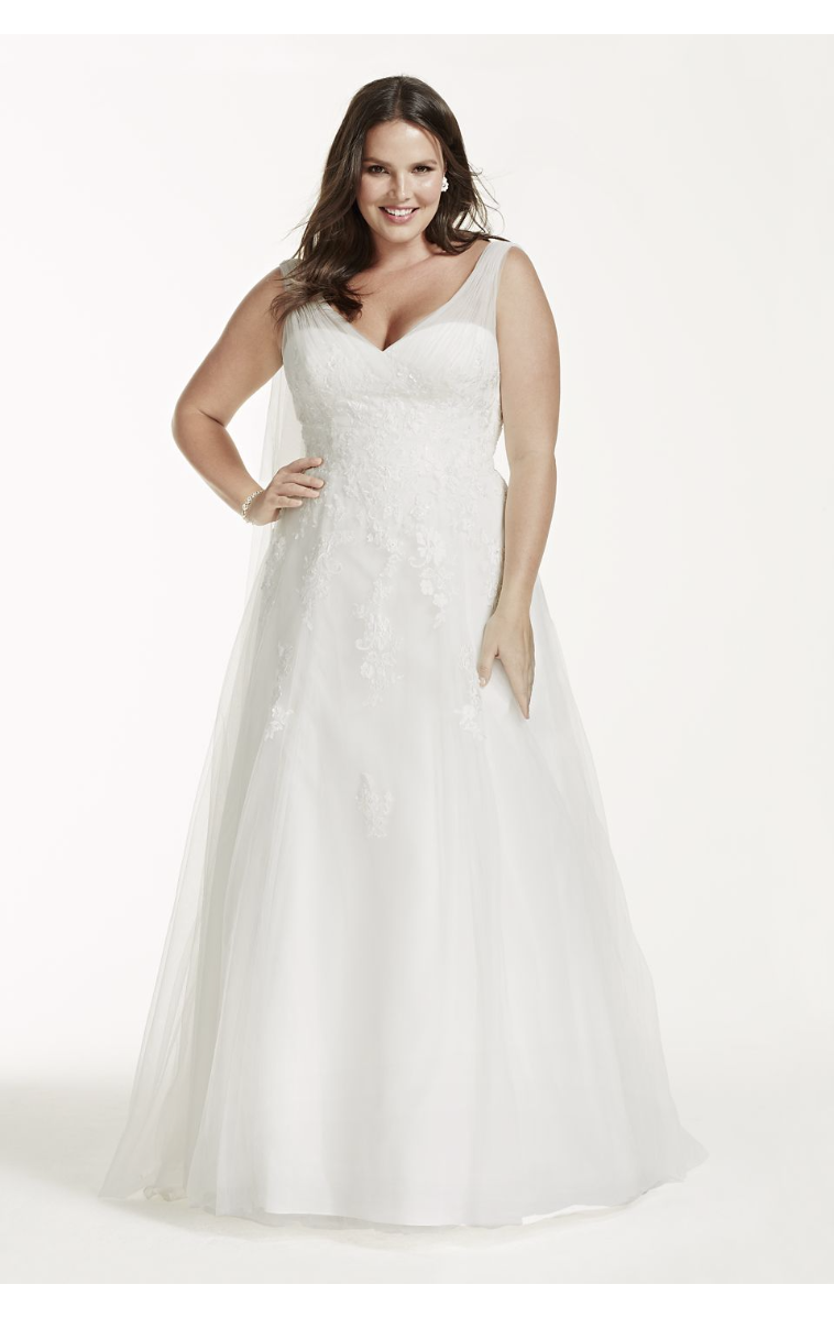A-Line Tulle Gown with Floral Lace Applique Style 9WG3712