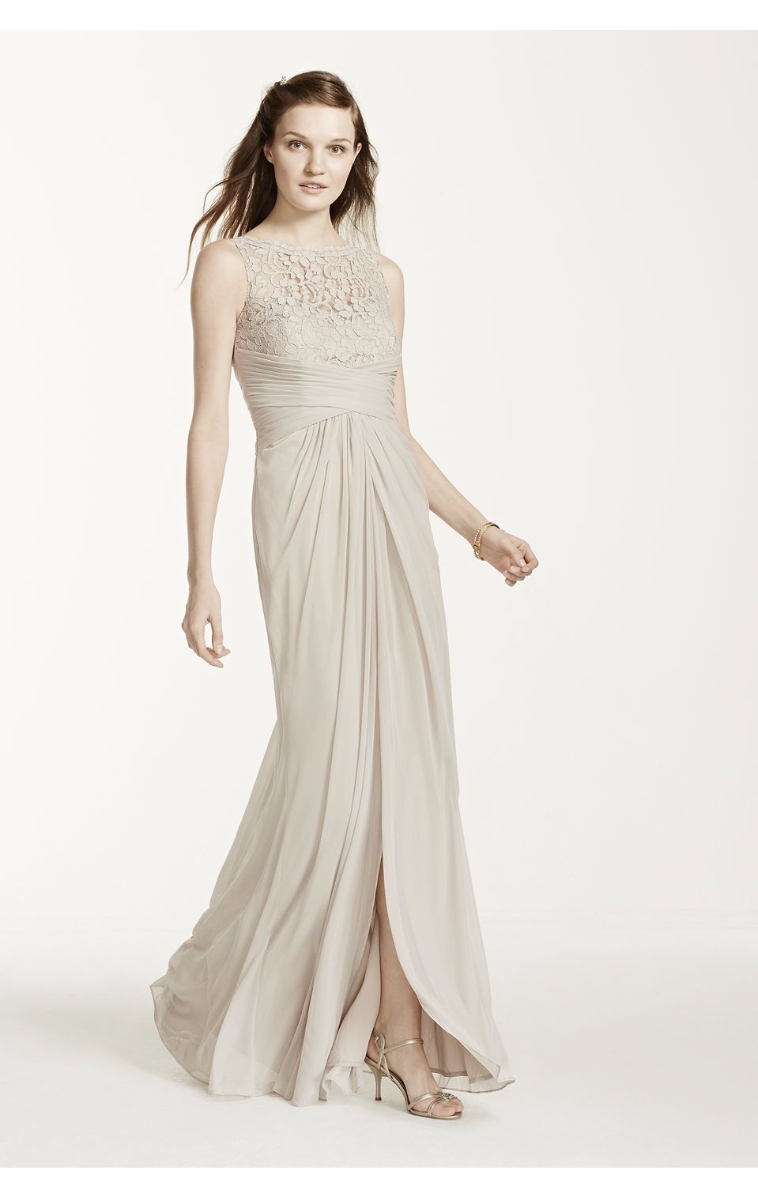 Sleeveless Long Mesh Dress with Corded Lace Style F15749