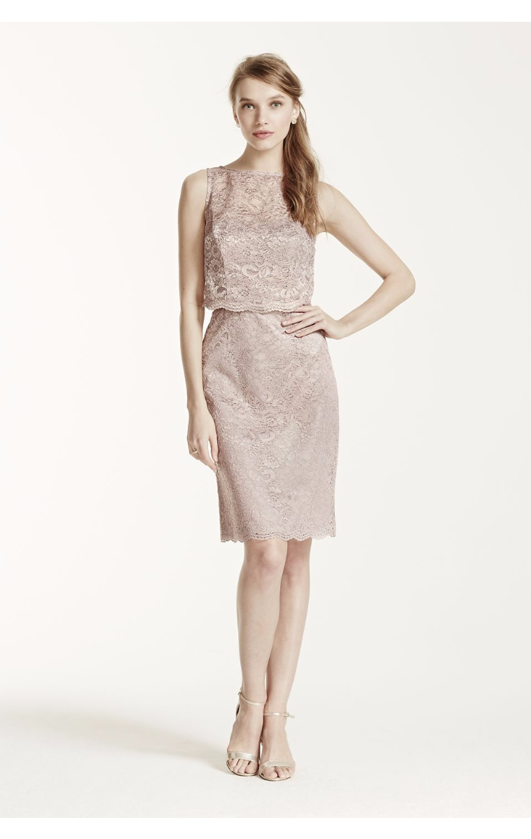 Elegant Short All Over Lace Dress with Removable Popover F15920M
