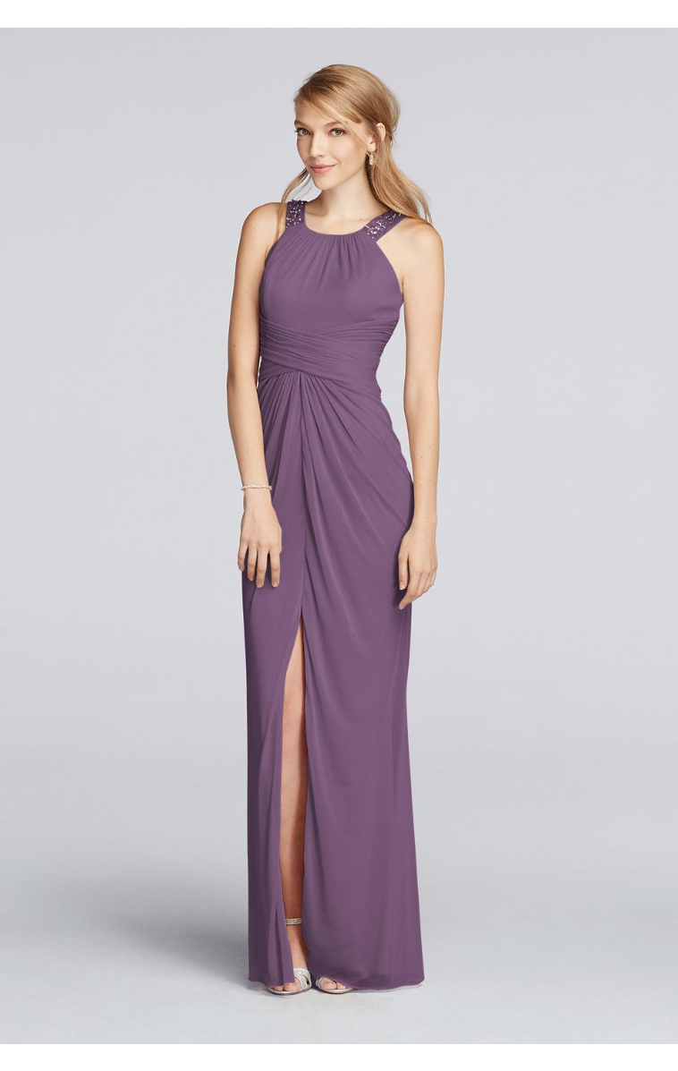 Long Beaded U Neck Ruched Waist Mesh F17093 Style Dress