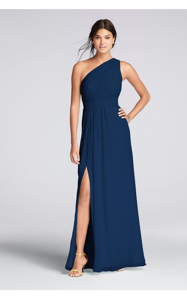 Long Chiffon One Shoulder Bridesmaid Dresses F18055