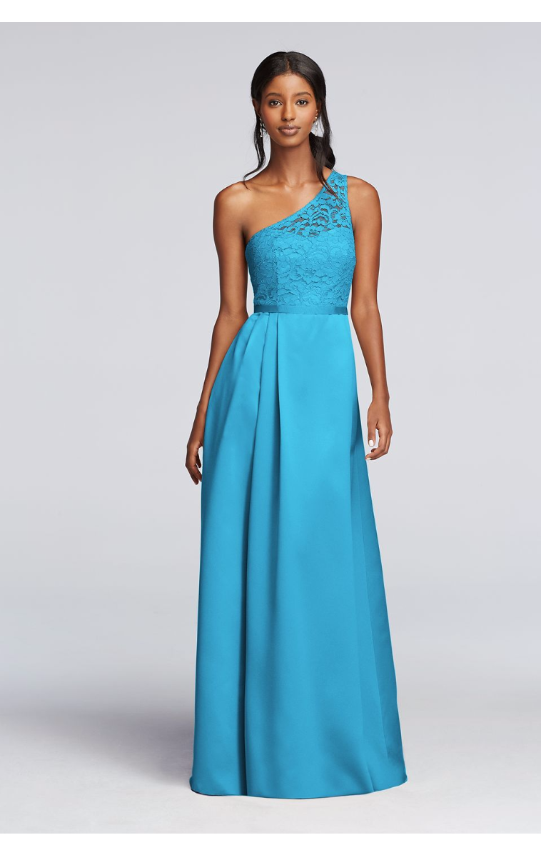Elegant Long Illusion Lace and Satin One Shoulder A-line Bridesmaid Dress F18058