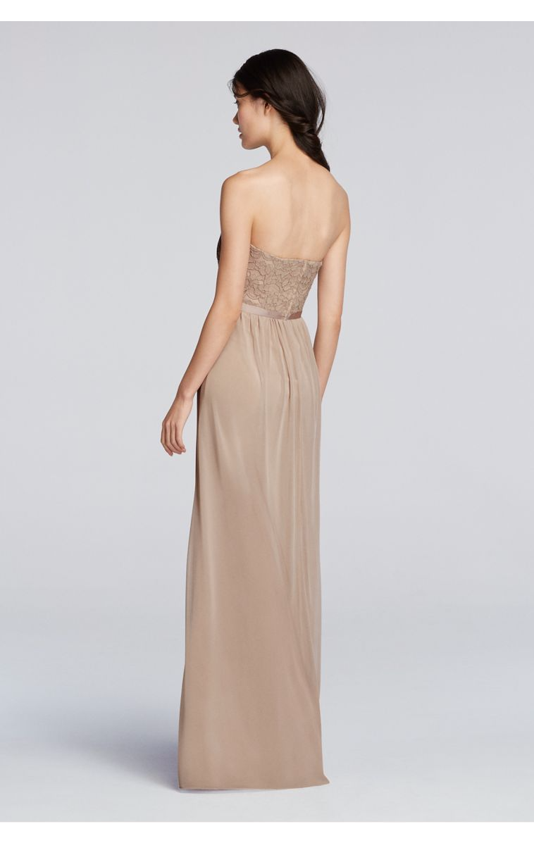 Mesh and Lace Embellished Long Strapless A-line Bridesmaid Dress with Front Side Slit F18095