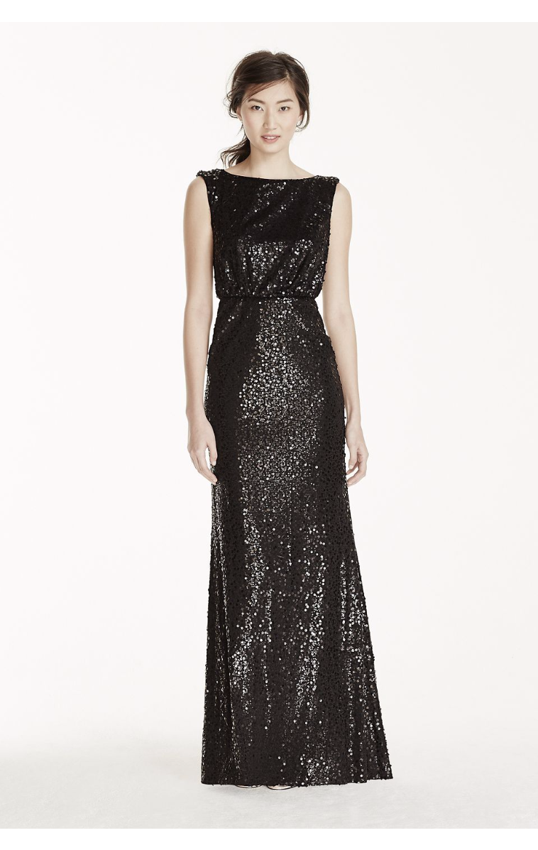 Shinning Long All Over Sequined Blouson Dress F19022