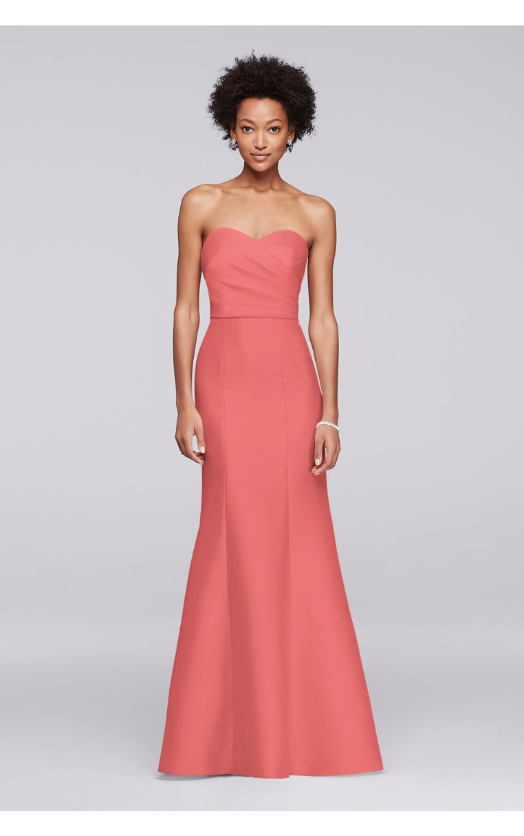 Glamour Structured Strapless Sweetheart Neckline Long Bridesmaid Dress F19279
