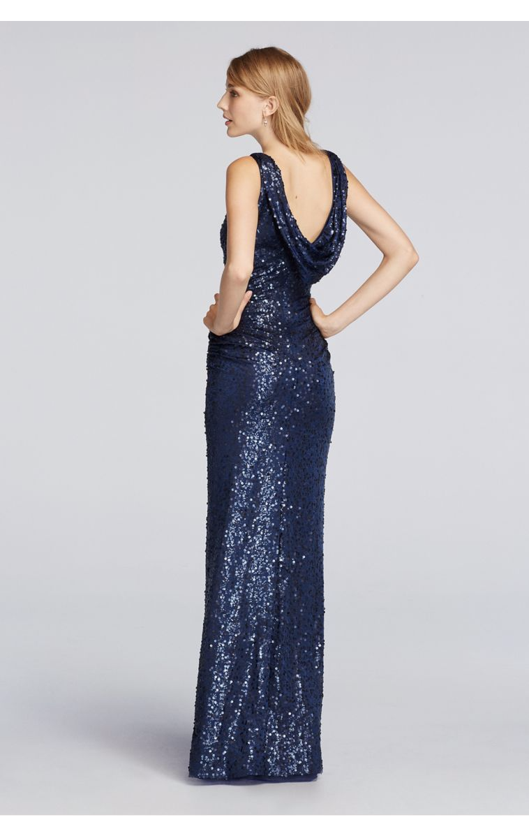 Unique Fashionable Long Sequin F19400 Style Tank Dress with Cowl Back