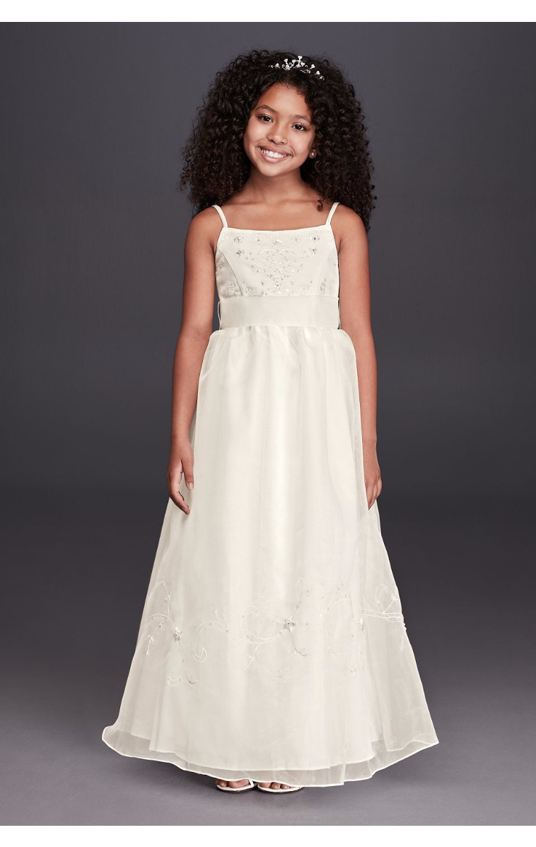 Newest Coming Spaghetti StrapS Organza Ball Gown for Flower Girls with Bow Embellished FG258