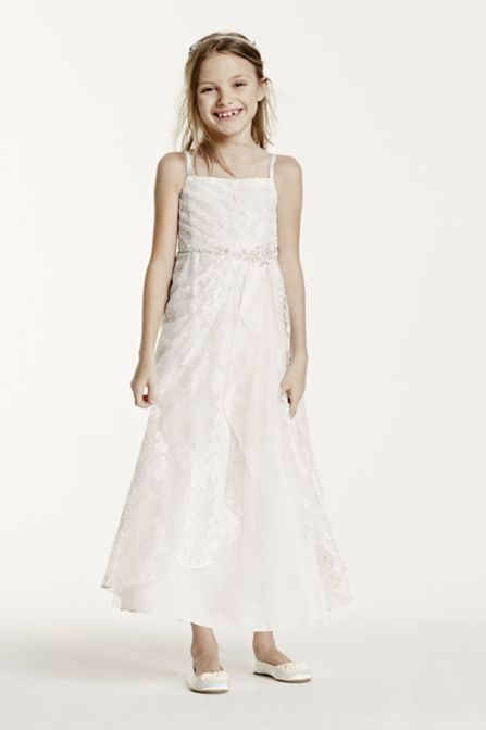 Princess Style Spaghetti Strap Beaded Lace Dress for Flower Girls FG3344