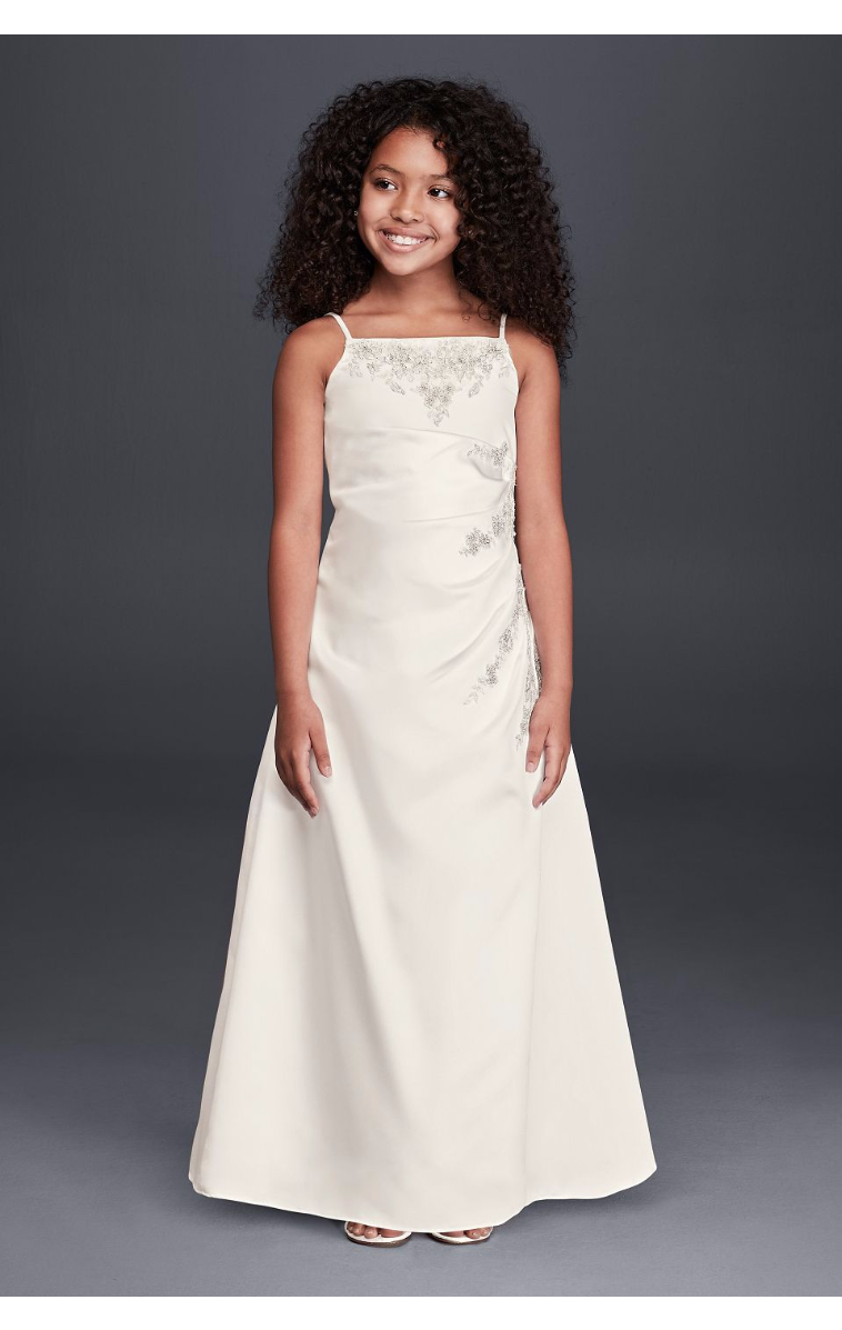 Unique Design FG9665 Style Spaghetti Straps A-Line Flower Girl Dress with Beaded Lace Detail
