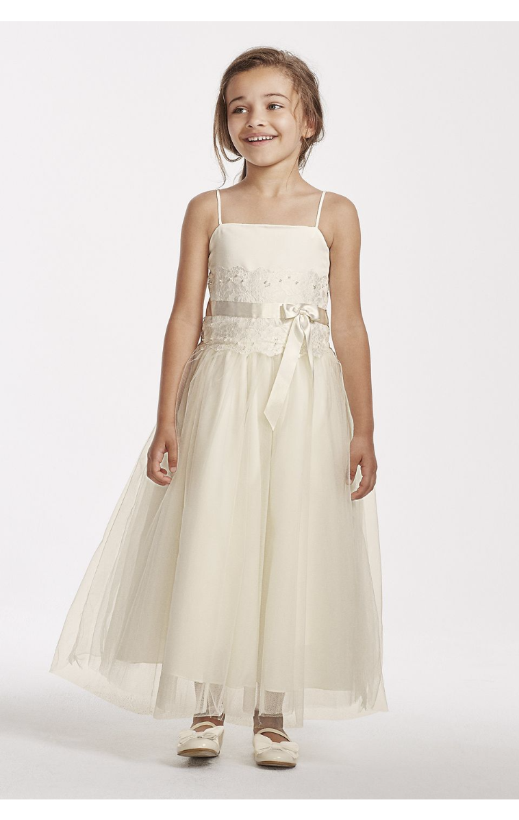 Lace and Tulle Flower Girl Dress with Spaghetti Straps H1173